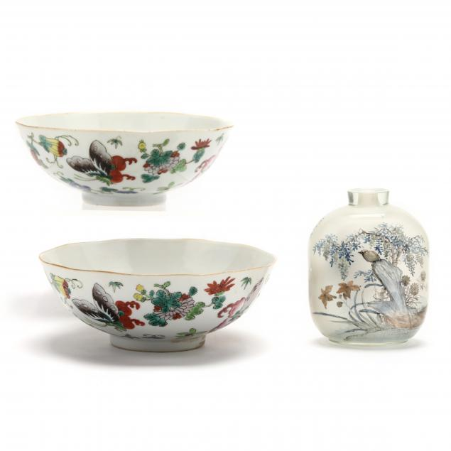 a-pair-of-chinese-famille-rose-bowls-and-large-snuff-bottle