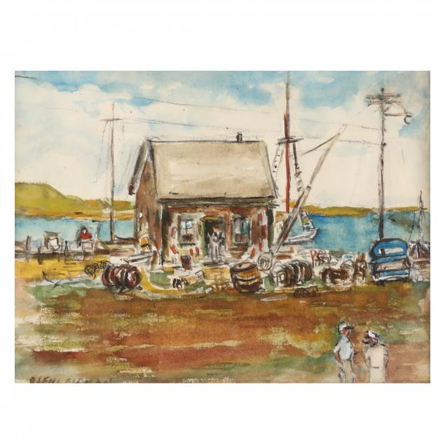 r-g-engelsman-american-20th-century-fishing-harbor-scene