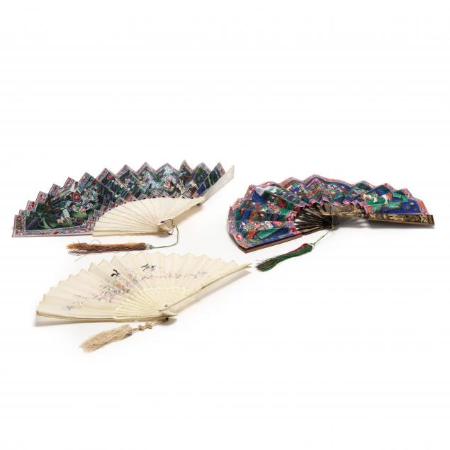 three-antique-asian-fans