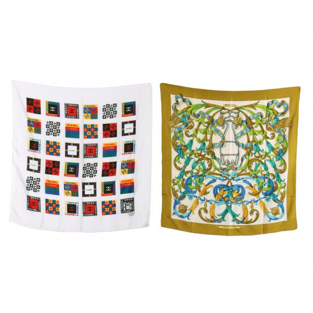 two-silk-fashion-scarves-hermes-and-chanel