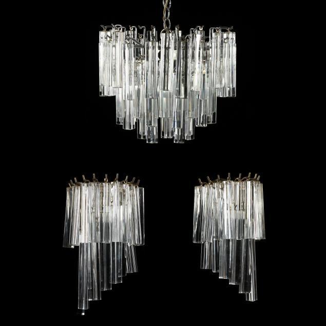 venini-vintage-triedri-prism-chandelier-and-pair-of-sconces