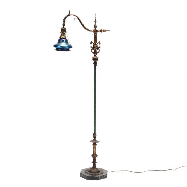 vintage-iron-floor-lamp-with-art-glass-shade