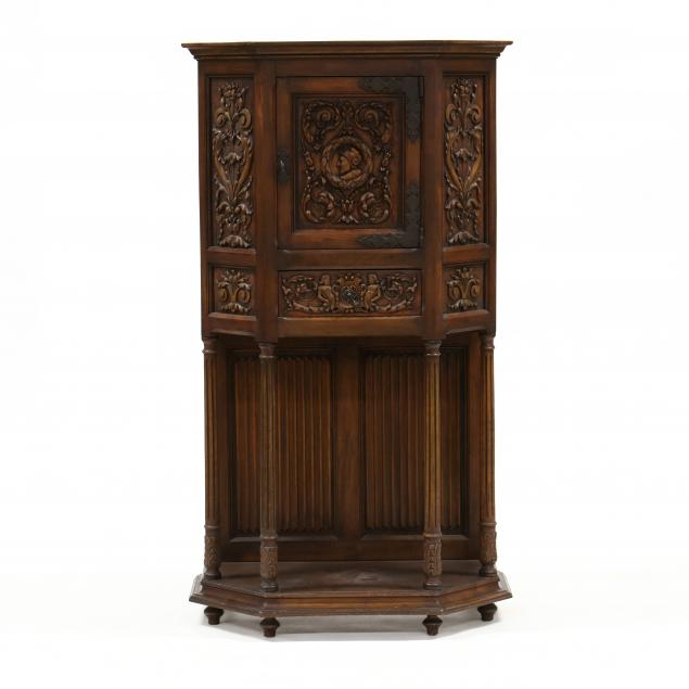 gothic-style-carved-walnut-vestment-cabinet