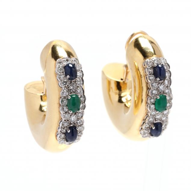 18kt-bi-color-gold-and-gem-set-earrings-italy