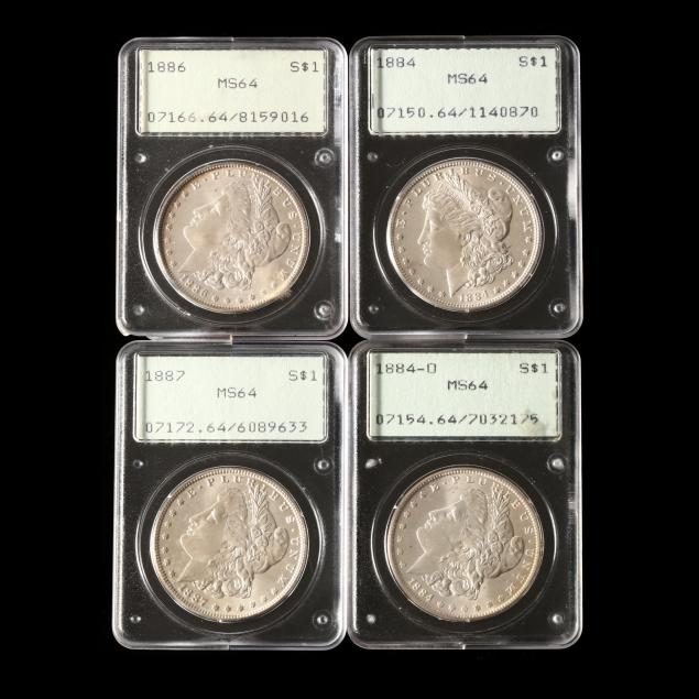 four-morgan-dollars-pcgs-ms64-in-early-rattler-holders