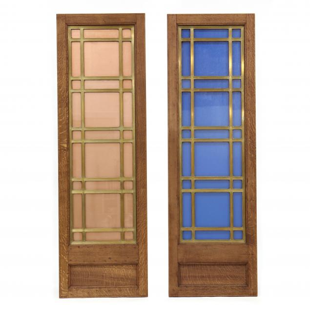 pair-of-vintage-oak-and-glass-panels