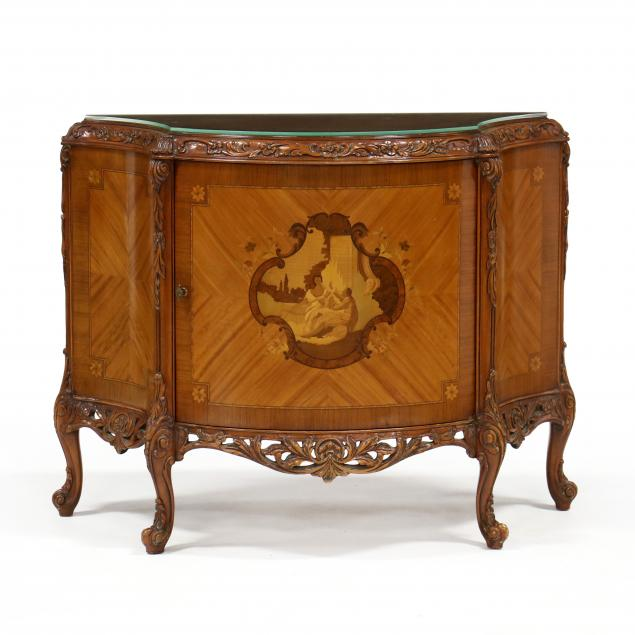 vintage-french-style-inlaid-mahogany-demilune-cabinet