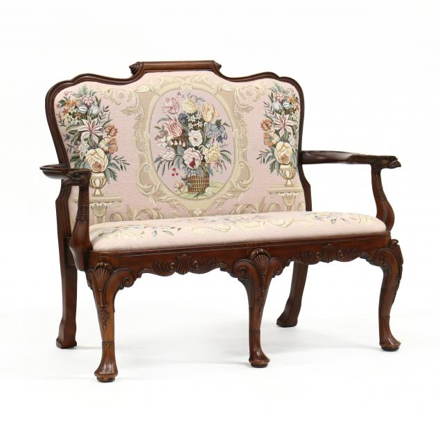 maitland-smith-irish-queen-anne-style-carved-mahogany-settee