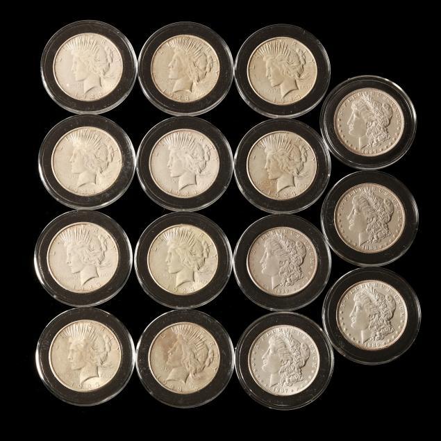 five-morgan-and-ten-peace-silver-dollars