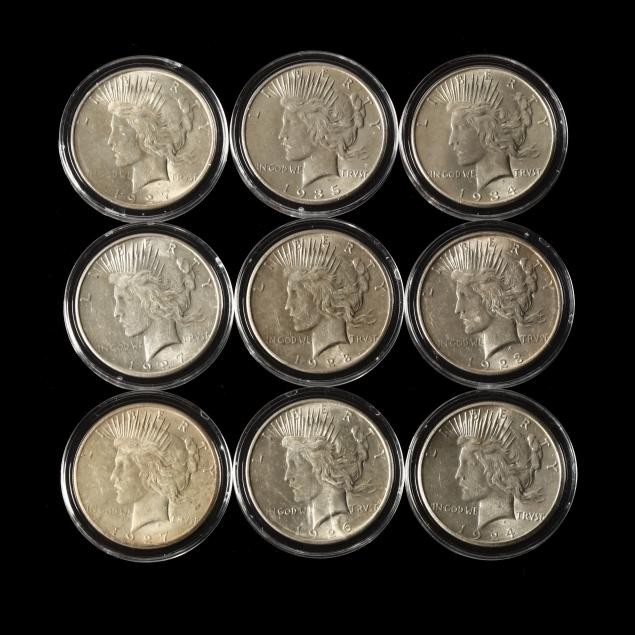 nine-different-uncirculated-peace-dollars