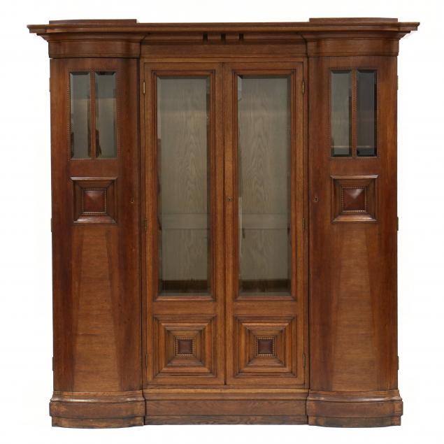 antique-germain-inlaid-oak-bookcase