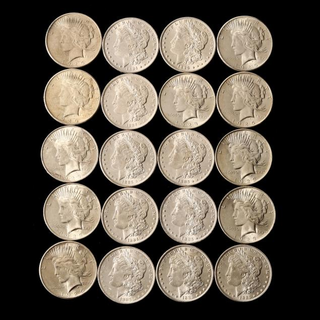 mixed-roll-of-uncirculated-morgan-and-peace-dollars
