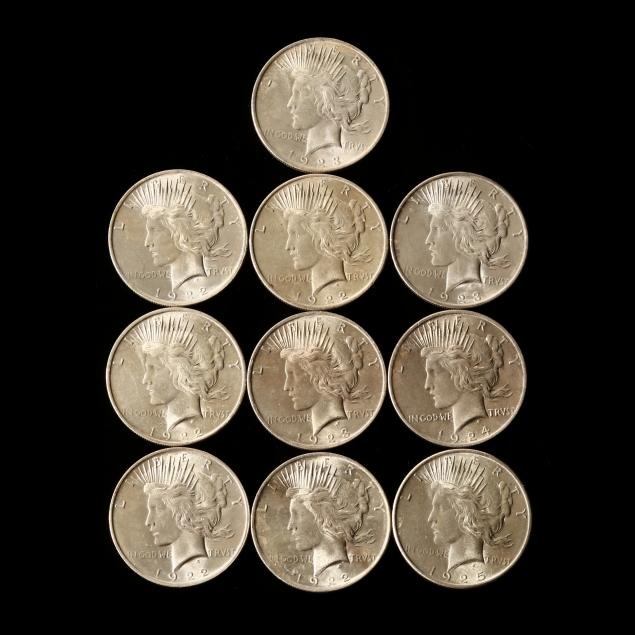 ten-bu-philadelphia-mint-peace-silver-dollars