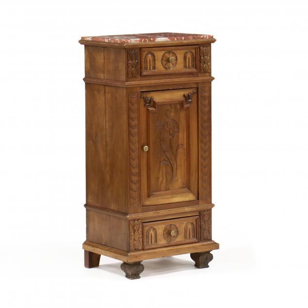 continental-carved-walnut-marble-top-side-cabinet