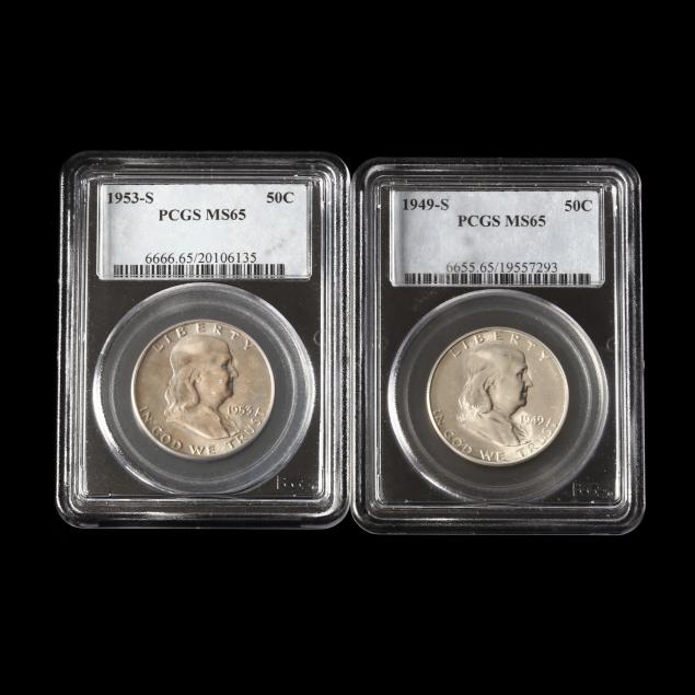 1949-s-and-1953-s-franklin-half-dollars-pcgs-ms65