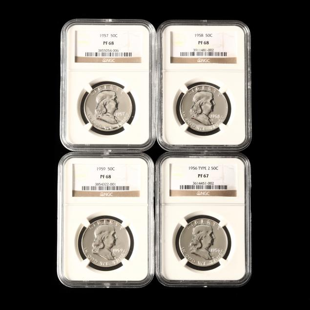 four-ngc-certified-1950s-proof-franklin-half-dollars