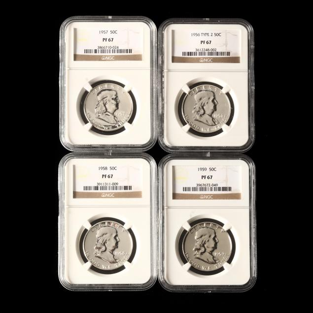 four-1950s-proof-franklin-half-dollars-all-ngc-pf67