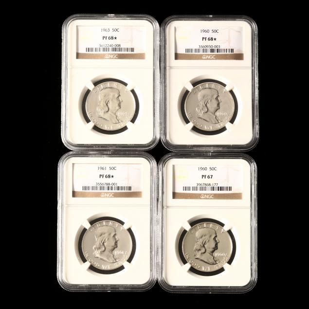 four-ngc-graded-1960s-proof-franklin-half-dollars
