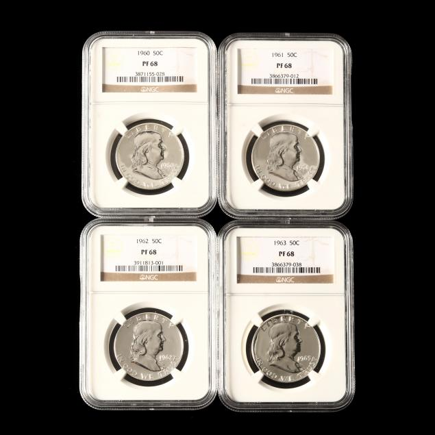 four-early-1960s-franklin-halves-graded-ngc-pf68