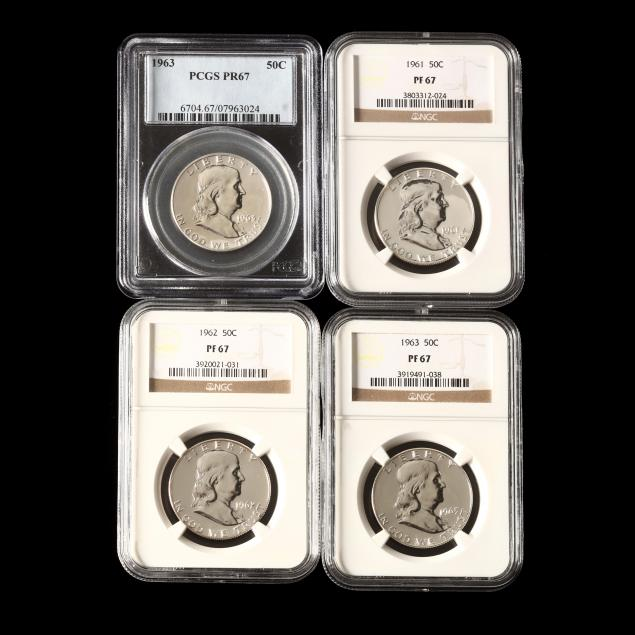 four-early-1960s-proof-franklin-halves-graded-proof-67