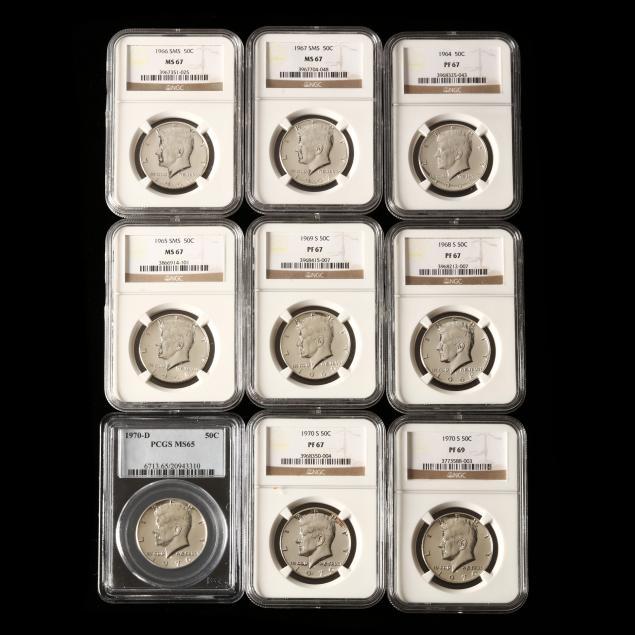 nine-graded-silver-kennedy-half-dollars