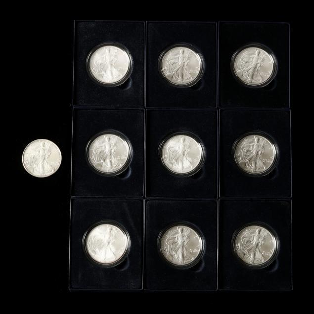 ten-2007-uncirculated-american-eagle-silver-bullion-coins