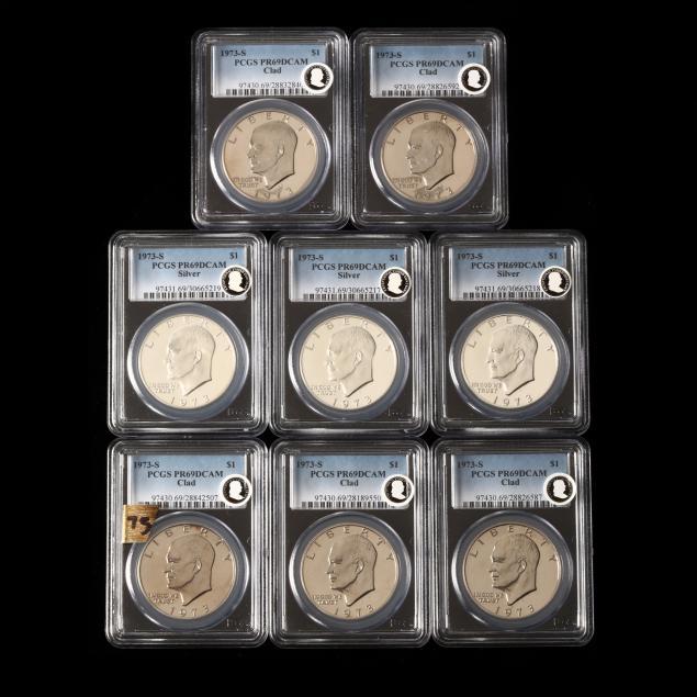 eight-8-1973-s-eisenhower-dollars-pcgs-pr69dcam