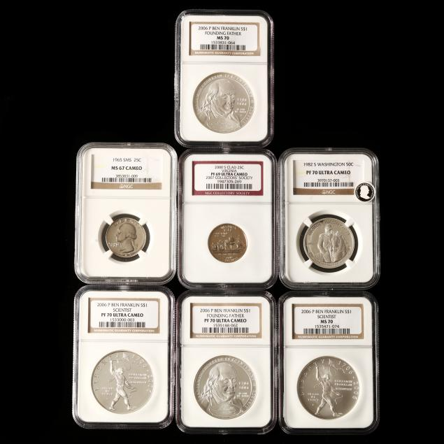 seven-ngc-graded-modern-coins-six-silver-and-two-clad