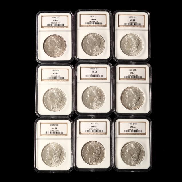 nine-graded-morgan-silver-dollars-all-ngc-ms64