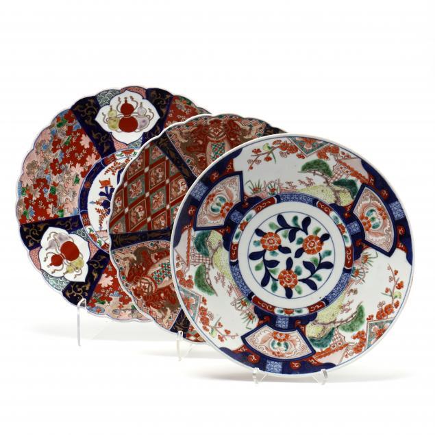 three-japanese-imari-porcelain-chargers