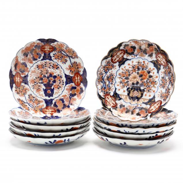 a-group-of-ten-imari-porcelain-plates