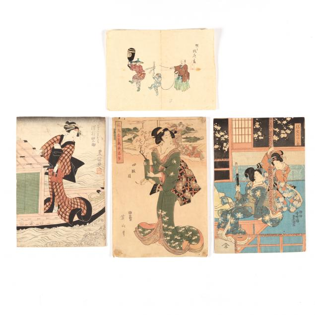 a-group-of-four-japanese-works-on-paper
