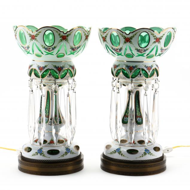pair-of-bohemian-cut-to-green-mantel-lusters