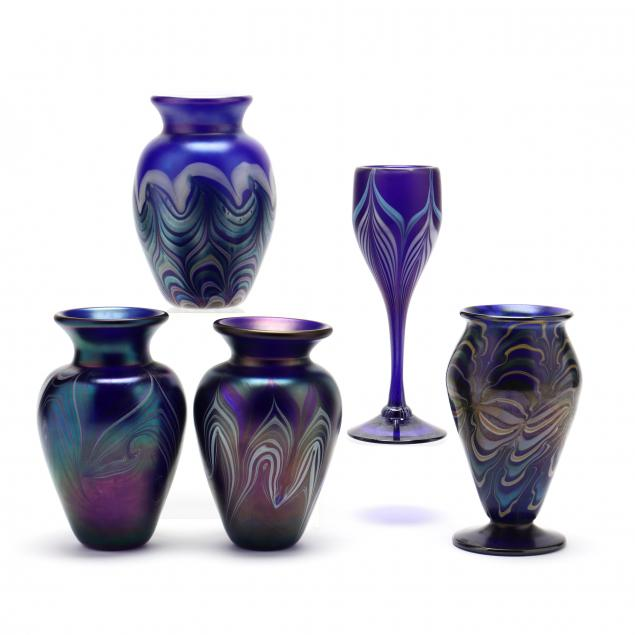 five-pulled-feather-art-glass-pieces