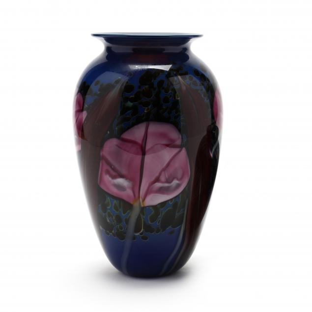 rick-satava-ca-floral-art-glass-vase