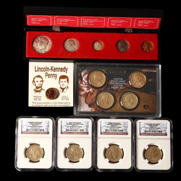 1964-denomination-set-eight-presidential-dollars-and-lincoln-kennedy-cent