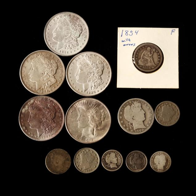 ten-mixed-silver-coins-and-three-v-nickels