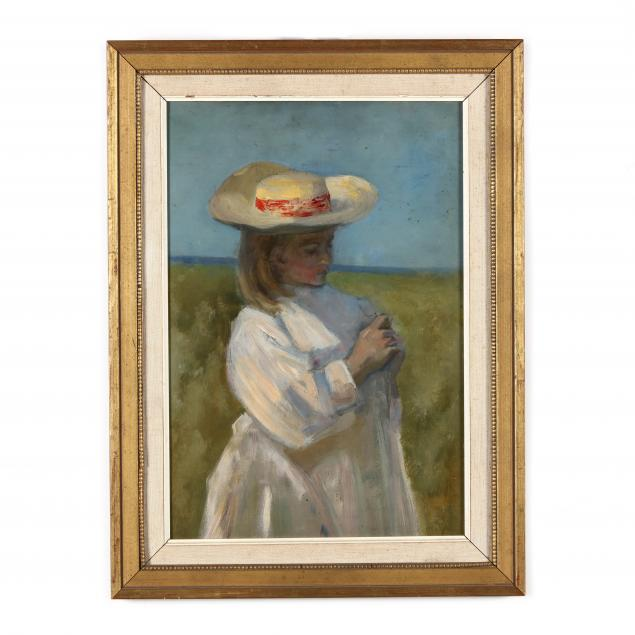 french-school-20th-century-girl-in-a-hat