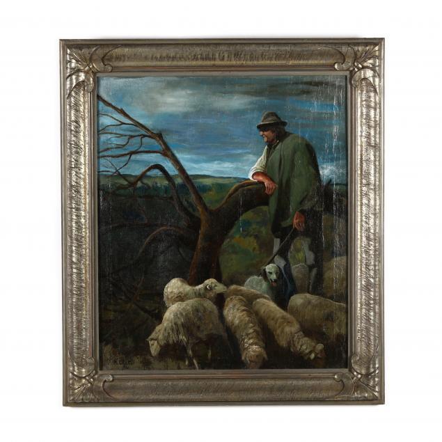 nicola-ciletti-italian-1883-1967-shepherd-with-flock