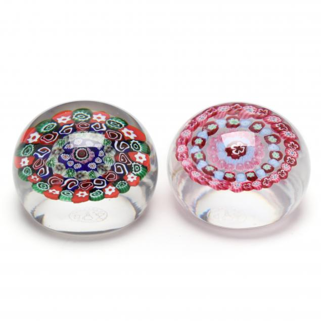 baccarat-pair-of-millefiori-glass-paperweights