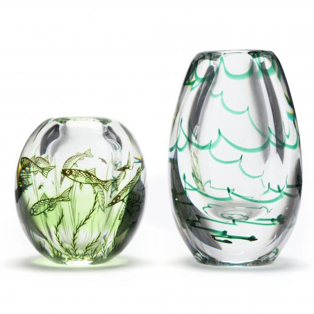 two-mid-century-swedish-art-glass-vases