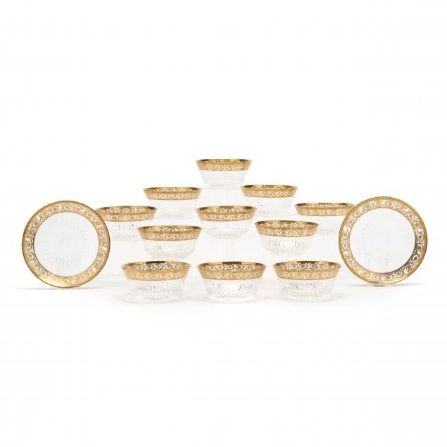 st-louis-thirteen-pieces-of-i-thistle-gold-i-finger-bowls-and-underplates