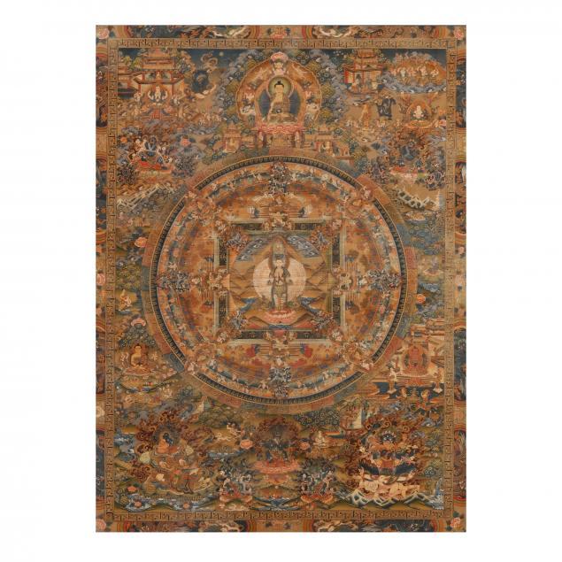 a-nepalese-thangka-of-thousand-armed-avalokitesvara