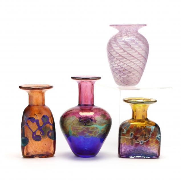 four-signed-art-glass-cabinet-vases
