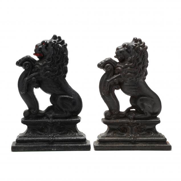 pair-of-antique-iron-lion-doorstops