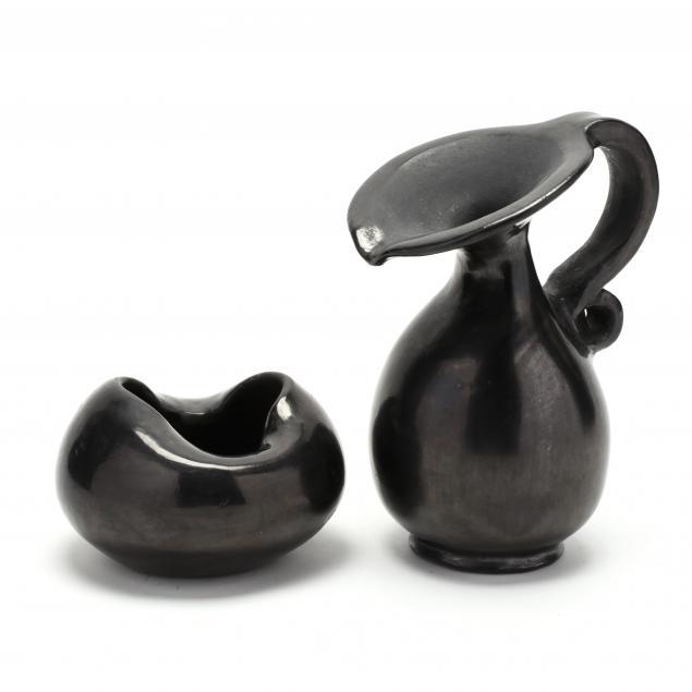 two-dona-rose-mexican-blackware-pots