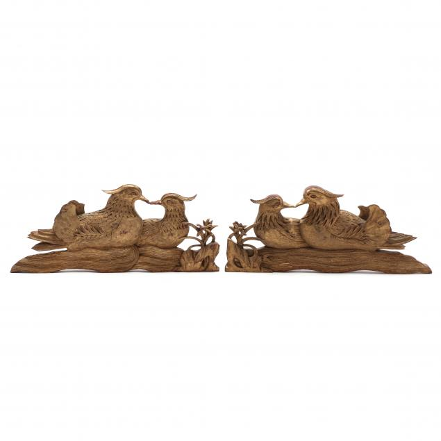 pair-of-gilt-chinese-duck-wall-plaques