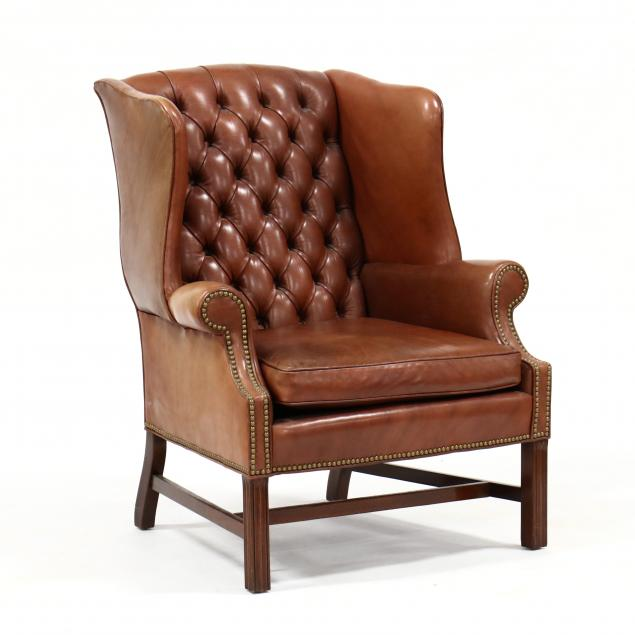 leathercraft-chippendale-style-tufted-leather-easy-chair