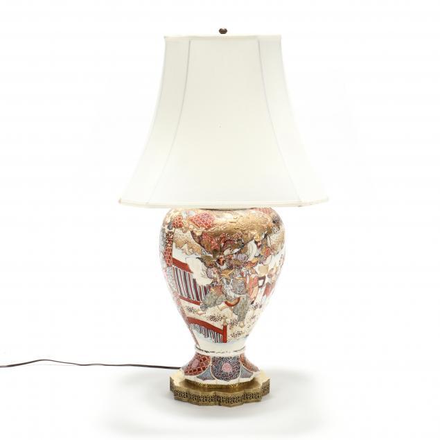 antique-satsuma-large-pottery-table-lamp