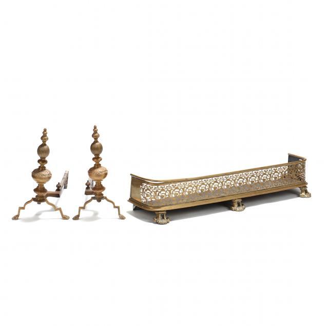 antique-pierced-brass-fire-fender-and-andirons